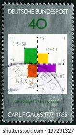 GERMANY - CIRCA 1977: A stamp printed in German Federal Republic honoring 300th Anniversary of Carl Friedrich Gauss - mathematician, circa 1977