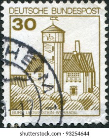 GERMANY - CIRCA 1977: A stamp printed in Germany, shows the Burg Ludwigstein, river valley Werra, circa 1977