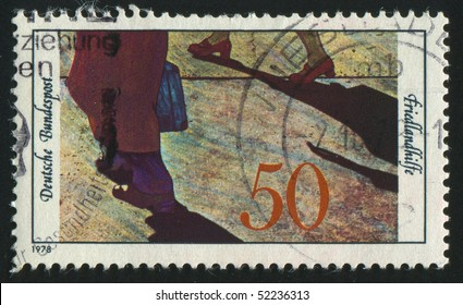 GERMANY  - CIRCA 1978: stamp printed in Germany, shows picture Refugees, circa 1978.