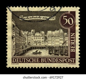 GERMANY - CIRCA 1980: A stamp dedicated to the Berlin is the capital city of Germany, and is one of the sixteen states of Germany, circa 1980.