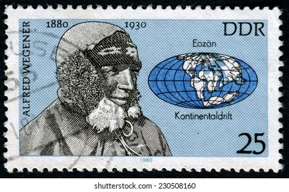 GERMANY -CIRCA 1980: A stamp printed in GDR (East Germany) shows Alfred Wegener, series, circa 1980