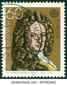 GERMANY - CIRCA 1980: A stamp printed in Germany shows Gottfried Wilhelm Leibniz (1646-1716), philosopher and mathematician, circa 1980