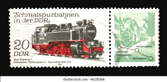 GERMANY - CIRCA 1980: A stamp printed in Germany showing steam locomotive circa 1980