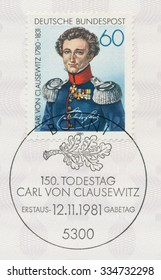 GERMANY - CIRCA 1981: A post stamp printed in Germany shows portrait of Karl von Clausewitz Prussian general and writer, (1780-1831), by W. Wach, circa 1981