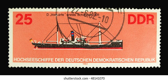 GERMANY - CIRCA 1982: A stamp printed in Germany showing ship circa 1982