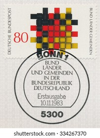 GERMANY - CIRCA 1983: A post stamp printed in Germany shows Territorial Authorities (Federation, Land, Communities), circa 1983