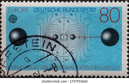 GERMANY - CIRCA 1983: a postage stamp showing a great work of the human spirit. Hertzian dipole (oscillation circuit), discovery of electromagnetic waves by Heinrich Hertz