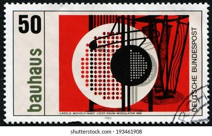 GERMANY - CIRCA 1983: A stamp printed in Germany dedicated to Bauhaus shows licht & raum modulator by laszlo moholy nagy, circa 1983
