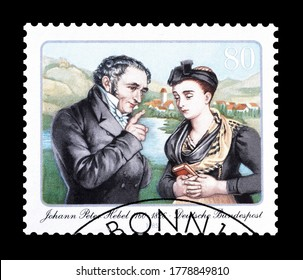 GERMANY - CIRCA 1985 : Cancelled postage stamp printed by Germany, that shows Johann Peter Hebel, circa 1985.