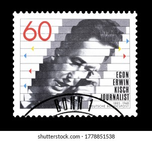 GERMANY - CIRCA 1985 : Cancelled postage stamp printed by Germany, that shows Egon Erwin Kisch, circa 1985.
