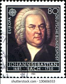 GERMANY - CIRCA 1985: A stamp printed in German Federal Republic shows composer Johann Sebastian Bach, circa 1985