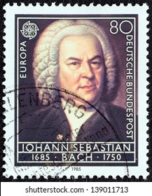 """GERMANY - CIRCA 1985: A stamp printed in Germany from the """"Europa. Composers' 300th Birth Anniversaries"""" issue shows Johann Sebastian Bach, circa 1985."""