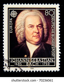 GERMANY - CIRCA 1985: A Stamp printed in the GERMANY shows portrait of the composer Johann Sebastian Bach, circa 1985.