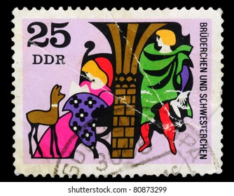 GERMANY- CIRCA 1985: the stamp printed by Germany shows a fairy-tale little brothers, circa 1985