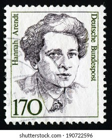 "GERMANY - CIRCA 1986: A stamp printed in Germany from the ""Famous German Women"" issue shows sociologist Hannah Arendt, circa 1986."