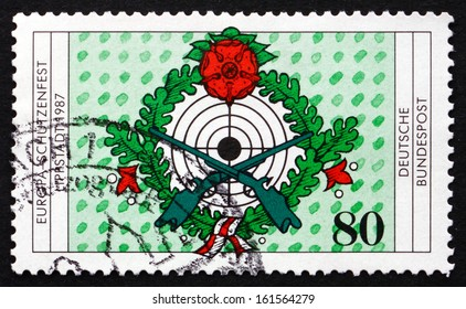 GERMANY - CIRCA 1987: a stamp printed in the Germany shows Target, 7th European Rifleman's Festival, Lippstadt, circa 1987