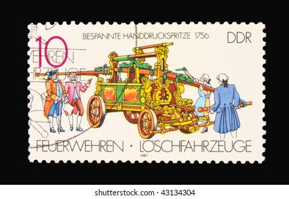 GERMANY - CIRCA 1987: A stamp printed in Germany showing printing machine, circa 1987