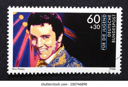 GERMANY  CIRCA 1988: postage stamp printed in Germany showing an image of Elvis Presley, circa 1988.