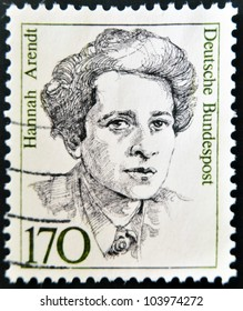 GERMANY - CIRCA 1988: A stamp printed in the Germany shows Hannah Arendt, circa 1988