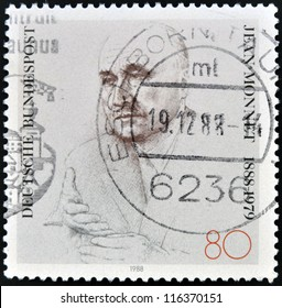 GERMANY - CIRCA 1988: A stamp printed in Germany, shows Jean Monnet, circa 1988