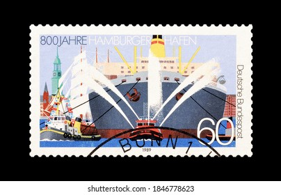 GERMANY - CIRCA 1989: Cancelled postage stamp printed by Germany, dedicated to 800th anniversary of the Hamburg Harbor, circa 1989.
