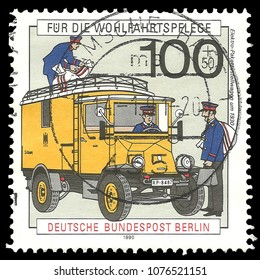 Germany - circa 1990: Stamp printed by Germany, Color edition on Post services, shows History of post and telecommunication, circa 1990