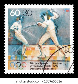 GERMANY - CIRCA 1992 : Cancelled postage stamp printed by Germany, that promotes Olympic games and shows Fencing, circa 1992.