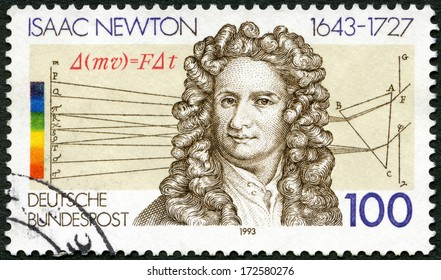 GERMANY - CIRCA 1993: A stamp printed in Germany shows Sir Isaac Newton (1642-1727), scientist, circa 1993