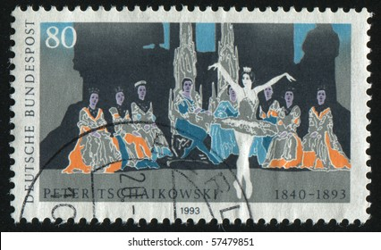 GERMANY- CIRCA 1993: stamp printed in Germany, shows ballet, Peter I. Tchaikovsky Composer, circa 1993.