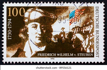 GERMANY - CIRCA 1994: a stamp printed in the Germany shows Baron Friedrich von Steuben, Inspector General and Major General of the Continental Army during the American Revolutionary War, circa 1994