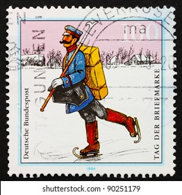 GERMANY - CIRCA 1994: a stamp printed in the Germany shows Postman with skates on ice, Mail delivery, circa 1994