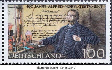 GERMANY - CIRCA 1995 : a postage stamp from Germany, showing a portrait of the inventor and prize giver Alfred Nobel with his will 100 years