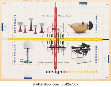 GERMANY - CIRCA 1998: A post stamp printed in Germany shows Glassware, by Peter Behrens, Teapot, by Marianne Brandt, Desk lamp, by Wilhelm Wagenfeld, Wassily chair, by Marcel Breuer, circa 1998