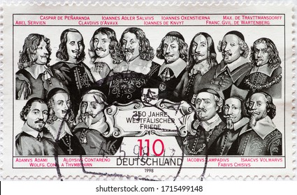 GERMANY - CIRCA 1998: a postage stamp printed in Germany showing historical portraits of men from the Thirty Years' War. Text: 350 years of Westphalian peace