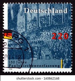 GERMANY - CIRCA 1998: a stamp printed in the Germany shows National Assembly, St. Paul??s Church, Frankfurt, 1848, Electing pan-German Constitutional Parliament, circa 1998