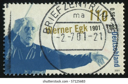 GERMANY- CIRCA 2001: stamp printed by Germany, shows Werner Egk Composer, circa 2001.