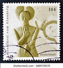 Germany - circa 2005 : Cancelled postage stamp printed by Germany, that shows Celtic prince of Glauberg (stone statue, 5th century BC), circa 2005.