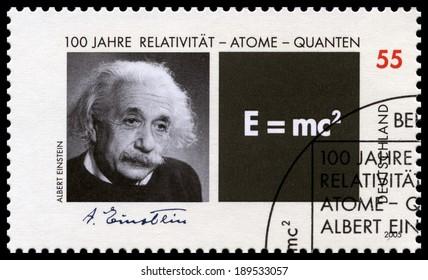 GERMANY, CIRCA 2005 - A German Postage Stamp featuring a portrait of Albert Einstein, circa 2005.