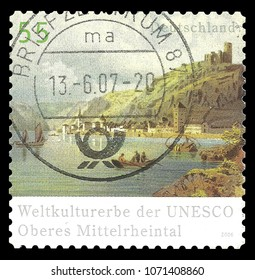 Germany - circa 2006: Stamp printed by Germany, Color edition on UNESCO World Heritage, shows Rhine Valley, circa 2006