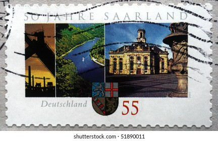 GERMANY - CIRCA 2007: A stamp printed in Germany honoring 50 years Saarland, circa 2007