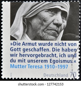 GERMANY - CIRCA 2010: A stamp printed in Germany shows mother Teresa, circa 2010