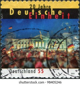 GERMANY - CIRCA 2010: A stamp printed in Germany, is dedicated to the 20th anniversary of the reunification of Germany, circa 2010