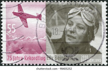GERMANY - CIRCA 2010: A stamp printed in Germany, is dedicated to the 75th anniversary of the record flight Elly Beinhorn between Europe and Asia, circa 2010