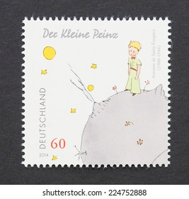 GERMANY - CIRCA 2014: a postage stamp printed in Germany showing an image of The Little Prince a novel of Antoine de Saint-Exupery, circa 2014.
