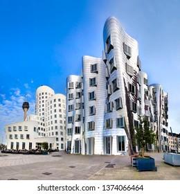 Düsseldorf, Germany - circa Apr, 2017: Modern futuristic looking buildings in Düsseldorf, Germany, Office Building Exterior, City, Building Exterior