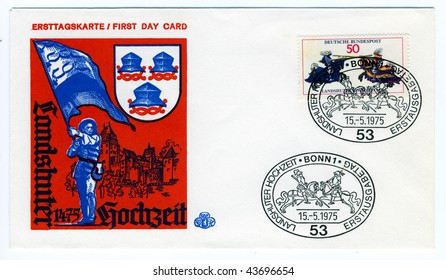 GERMANY -CIRCA MAY 15: vintage first day card commemorating the wedding at Landshut in 1475 special postmark circa on may 15, 1975 in Kassel, Germany