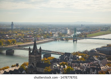 Germany, Cologne -october 2018 .Panoramic view of the city from the tower of Cologne Cathedral