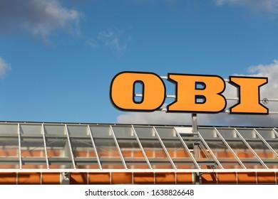 Germany, Cottbus, 05.02.2020, OBI lettering, from Obi hardware store