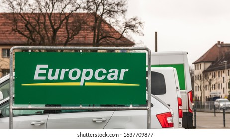 Germany , Cottbus , 06.02.2020 , A sign of the car rental Europcar