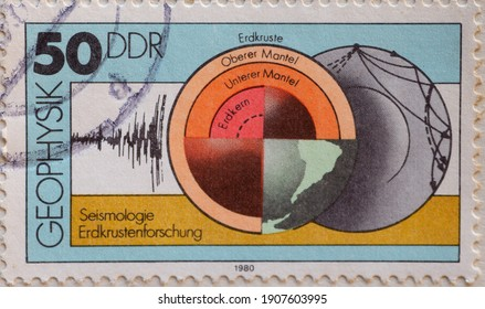 GERMANY, DDR - CIRCA 1980 : a postage stamp from Germany, GDR showing equipment and graphic representations on geophysics: seismology